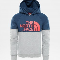 The North Face FELPA BAMBINA CON CAPPUCCIO DREW PEAK RAGLAN BLUE WING TEAL